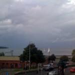 Storm och stadsliv.